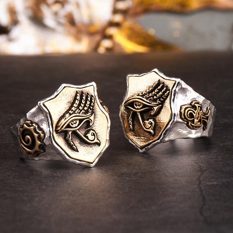 L'oeil d'horus anneaux pour homme et femme S925 argent Index bague mode bijoux hippop rue culture mygrillz