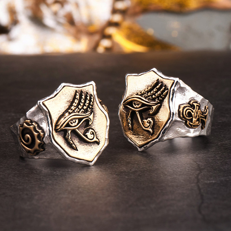 цены The Eye of Horus rings for man and women S925 silver Index Ring fashion jewelry