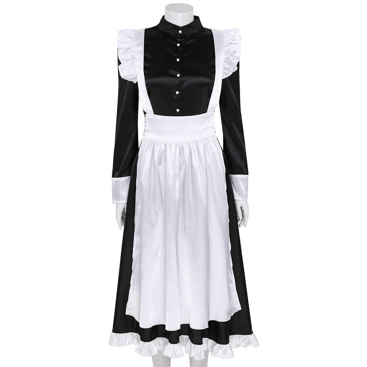 Женский косплей костюм моряка длинный рукав Передняя Кнопка Вниз Длинное Макси нарядное платье с фартуком и головной убор горничной сексуальный костюм