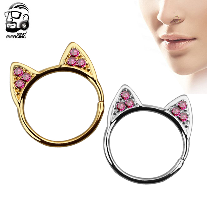Silver Gold Color Cat Ear Ring Nose Rings Design Cute Fashion