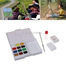 12 Colors Watercolor Paint Box Portable Solid Painting Art Supplies  HUZZ_26