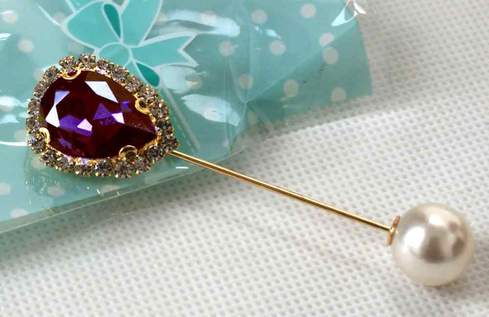 Air DROP Desain Pernikahan Muslim Syal Jilbab Pin Crystal Pearl Keselamatan Topi Klip Wanita Klip Stick Perhiasan Bros Fashion