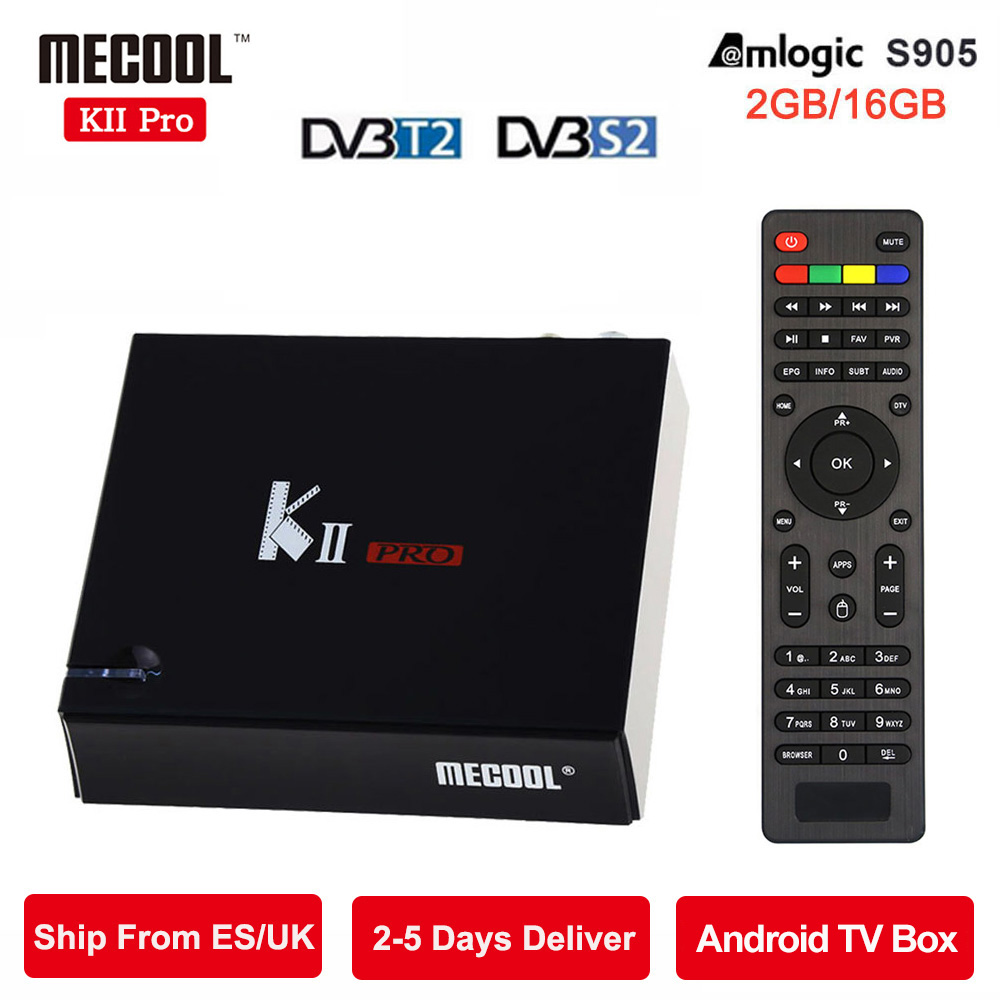 MECOOL KII Pro Android TV Box 2G+16G DVB-S2 DVB-T2 Pre-installed Amlogic S905 Quad-co0000re Bluetooth 5G wifi Smart Media Player kii pro android tv box amlogic s905 media player 2g 16g dual wifi iptv dvb s2 t2 k2 pro satellite receiver ship from russian