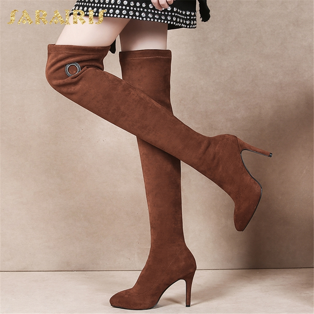 33 Caliente Nueva marrón Mujer Tacones Sexy 39 Zapatos Sobre Thin Altos  Sarairis Botas Negro Venta ... 7e0236ae961c