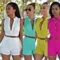 Новый 2016 лето ползунки bodycon комбинезон женщин комбинезон без рукавов шорты S-XXL Большой размер боди с поясом 6 цвета S-XXL