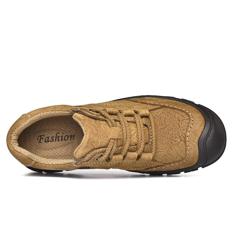 Hommes Chaussures Noir Main Style Plein Cuir brown Naturel Air Travail Classique Imperméables En Bottes Cheville Automne Rétro De khaki 4fqwZqE