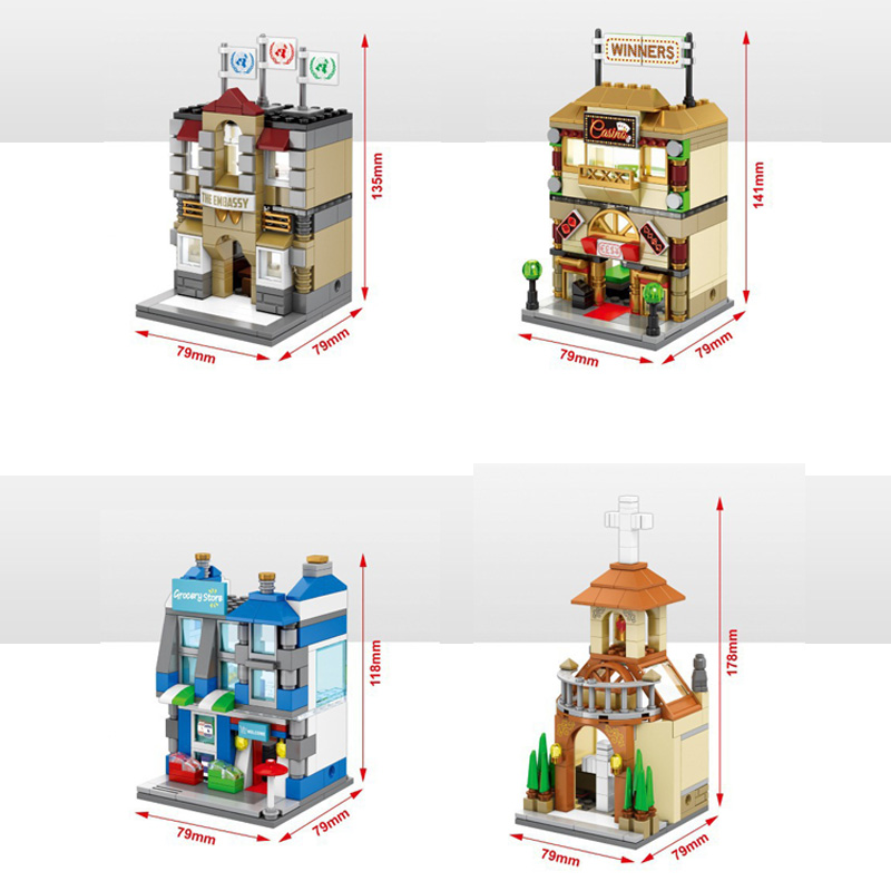 City Mini street view building block with light Church Embassy casino <font><b>Grocery</b></font> <font><b>store</b></font> model bricks assemable <font><b>toys</b></font> collection image