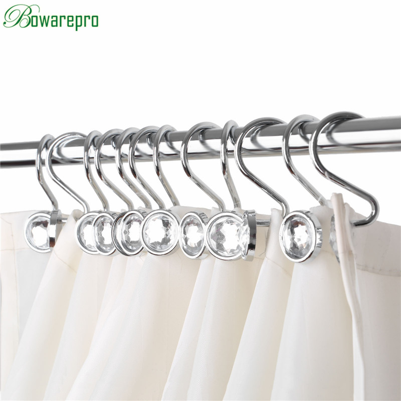 bowarepro 12PCS Glide Rings Curtain Hooks Fashion Rhinestones Shower Bathroom Shower Curtain Hook Metal For Poles Free Shipping sunset stone pattern waterproof bathroom shower curtain