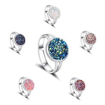 Women Adjustable Druzy Quartz Rings Fashion Wedding Engagement Multiple Silver Couple Rhinestone Opening Finger Ring Rose Gold