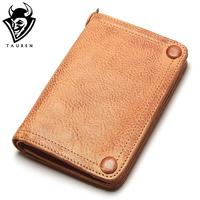 Tauren Vegetable Tanned Leather Wallet Hand Brushing Color High Quality Handmade Original Design Vintage Thick Cow