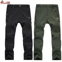 Shark Skin Softshell Outwear Tactical Pants Men Women Winter Waterproof Thermal Camo Fleece Pants Brand Male