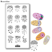 hot deal buy rectangle nail art stamping plate charm diamond jewelry necklace flower mandala lotus floral manicure nail art image plate c61