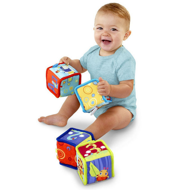 BOHS Brand Cloth Soft Grab and Stack Blocks Baby Development Toys
