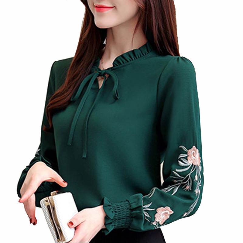 Ladies Casual Green Long Sleeve Solid Top And Blouse Women 2019 Summer Workwear Elegant Blouses