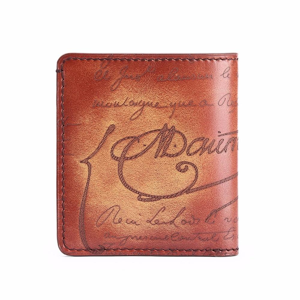TERSE Burgundy black apricot colors handmade genuine leather short font b wallet b font engraving service