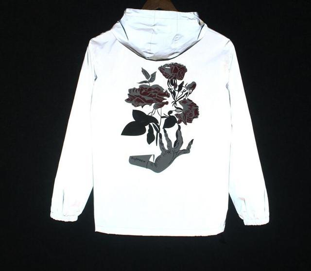 Губка мыши Весна/осень Ручной Цветы Мужчины ветровка 3 м светоотражающие жилеты повседневная хип-хоп мужчины куртки
