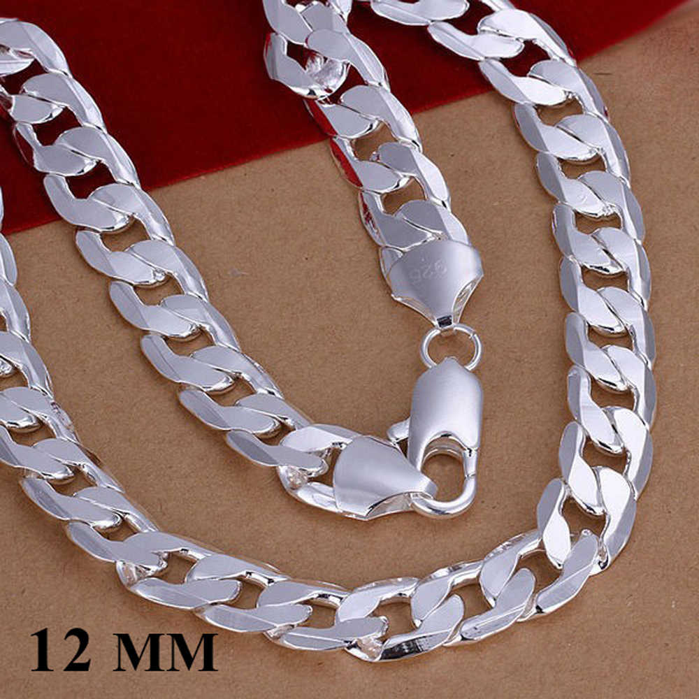wholesale 12MM width 925 Silver man jewelry fashion men chain curb necklace new