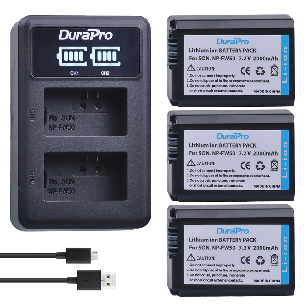 3 pc NP-FW50 NP FW50 Li-ion Batterie + LED Chargeur Pour Sony A6000 NEX-7 NEX-5N NEX-F3 3D NEX-3DW NEX-3K NEX-5C alpha 7R II NP-FW50