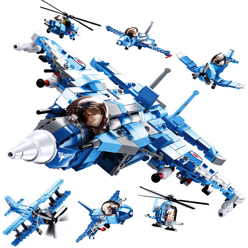 728Pcs 6In1 Military Series Fighter Air Force Plane Helicopter Building Blocks Compatible Legoings Model Building Kits kazi 82006 world war classical german air force model military building blocks educational toy fw190 fighter plane for kids