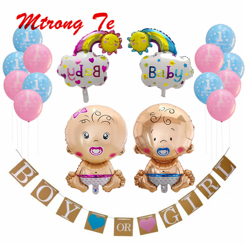17pcs/set Gender Reveal Party Baby Shower Decorations Boy or Girl Banner and Balloons Paper Flower Ball Pregnancy Announcement