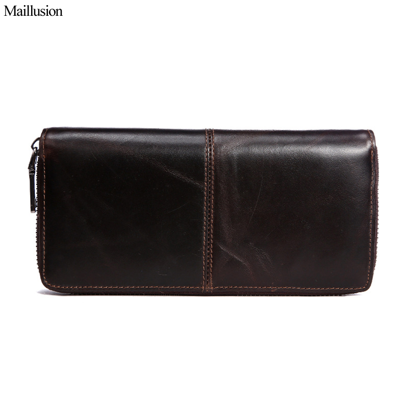 Maillusion Genuine Leather Men Wallet Long Zipper&Hasp Male Vintage Coin Purse Brand Purse Carteira For Rfid Portomonee Pocket