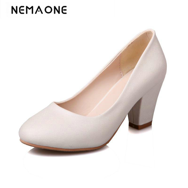 2018 New summer women shoes office lady high heels shoes rouned toe dress shoes woman white beige blue pink large size 34-43 2018 new summer shoes woman high heels