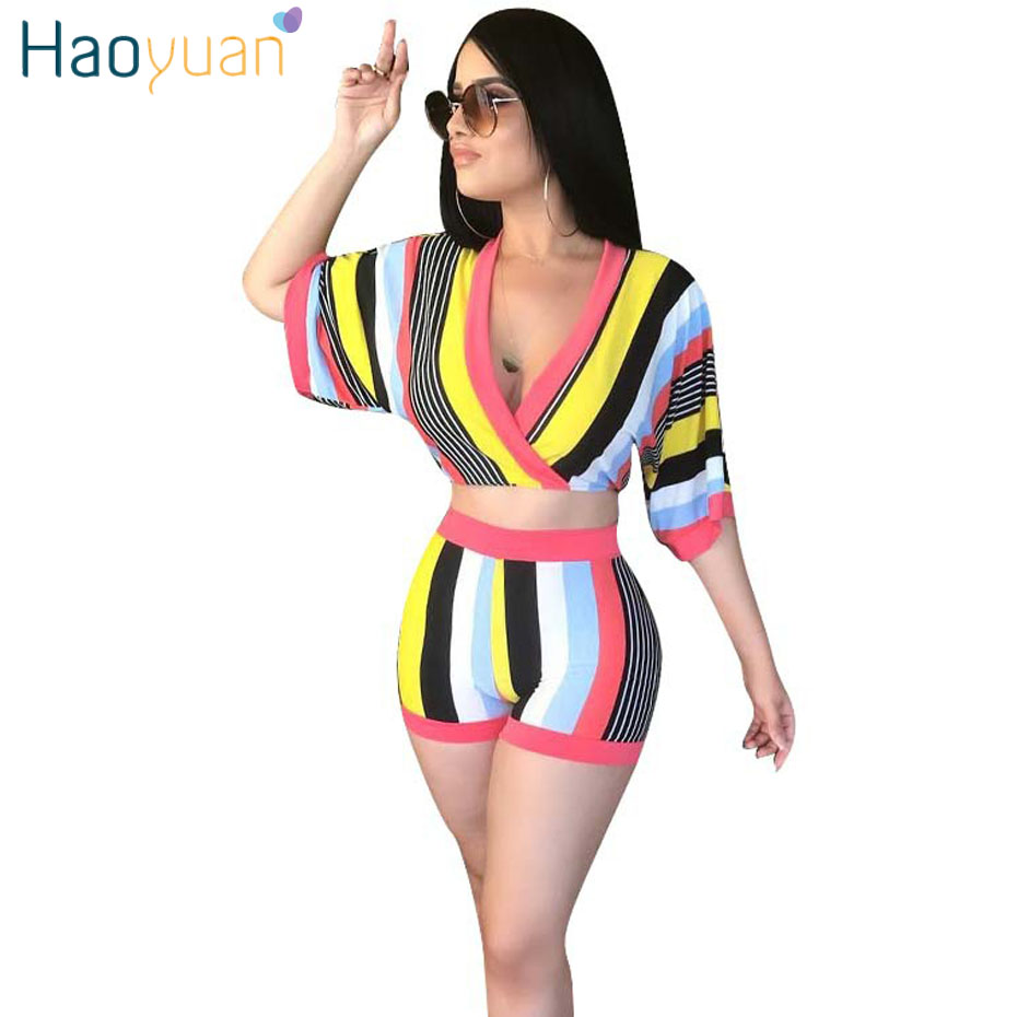 HAOYUAN Sexy 2 Piece Set Women Stripe Tops+Bodycon Shorts Suit Casual Summer Outfits Plus Size Two Piece Matching Sets Tracksuit