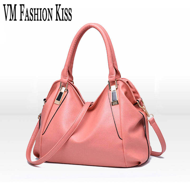 VM FASHION KISS Europe Hot Medium Shoulder Bag  Pink Women PU Leather Zipper Tote Bolsas Femininas Handbags Messenger Bags hot sale tassel women bag leather handbags cross body shoulder bags fashion messenger bag women handbag bolsas femininas