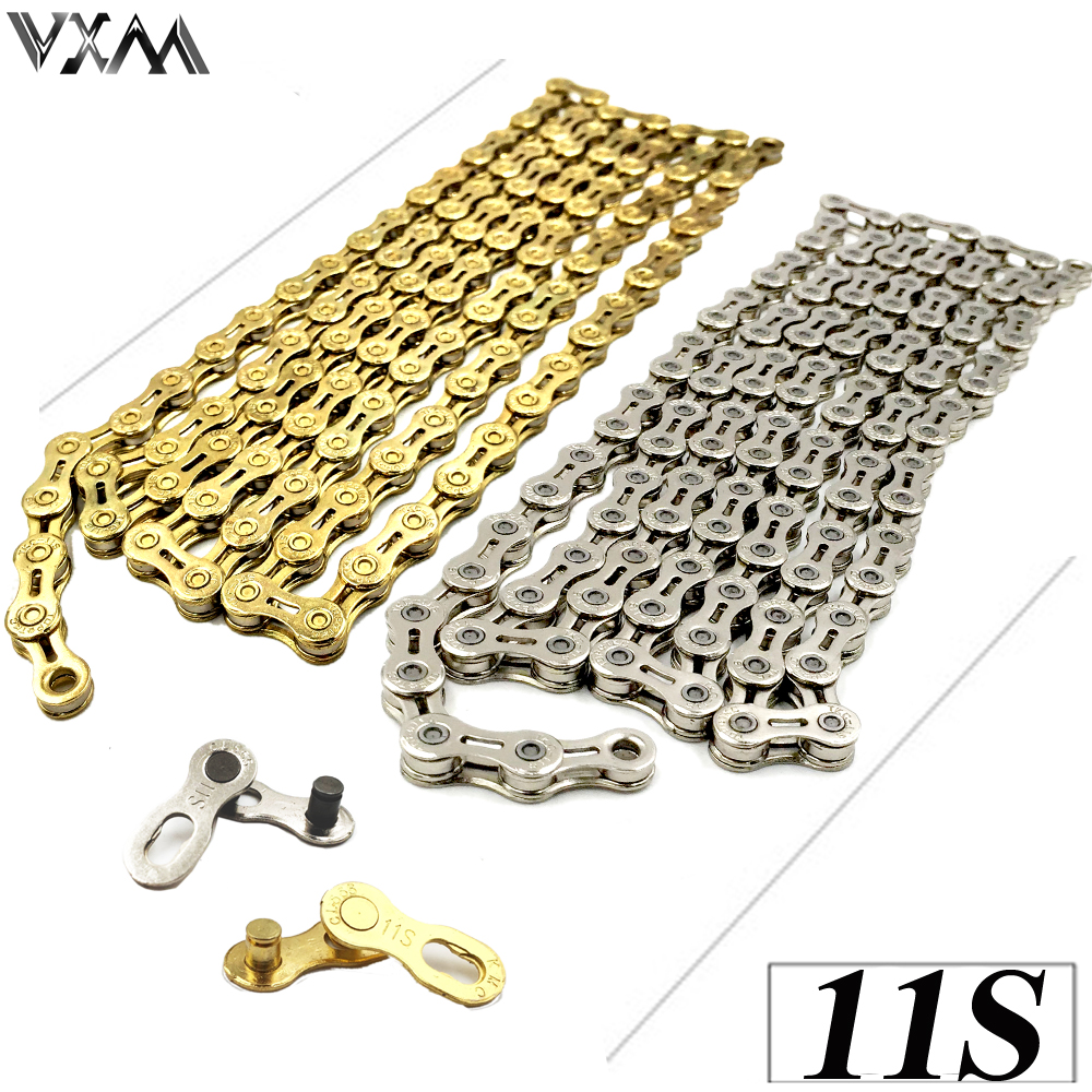 VXM Bicycle chain 11 Speed X11 X11EL Super Light mountain bike chain single 116 links Gold Silver original Bicycle Parts