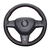 leather hand Top Leather Steering Wheel Hand-stitch on Wrap Cover For Skoda Yeti 2014 2015 2016 Rapid 2015 (2)