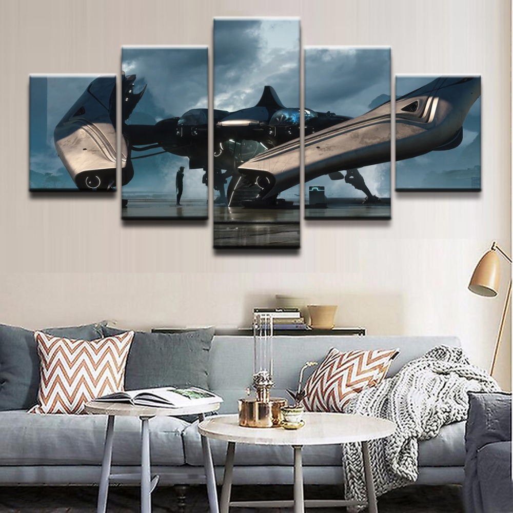 Modern Canvas Oil Painting Style Modular Wall Art Pictures Home Decor 5 Panel Spaceship Star Citizen Game Poster HD Printed in Painting Calligraphy from Home Garden