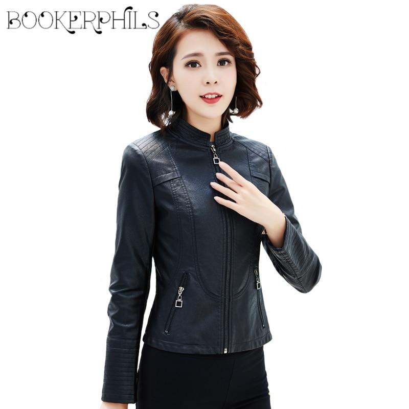 2019 New Fashion Spring Women Faux   Leather   Jackets Zipper Black Basic Coat Autumn Plus Size 4XL Soft PU   Leather   Biker Jacket