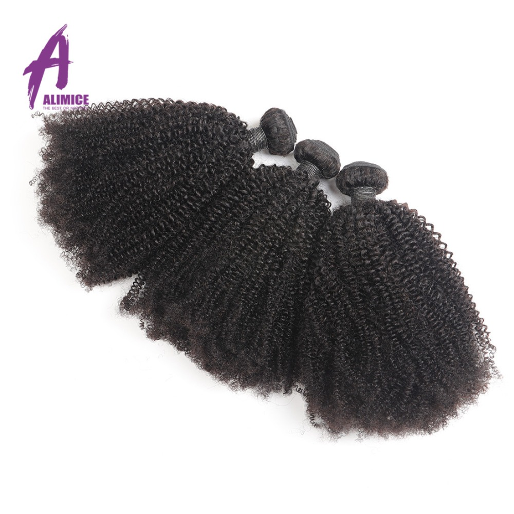 ALIMICE Hair Indian Afro Kinky Curly Hair Weaves 100 Human Hair 3 Bundles Deals Natural Color