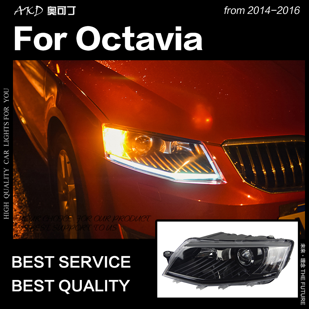 AKD Car Styling Head Lamp for Skoda Octavia Headlights 2015 2017 Octavia A6 LED Headlight DRL Hid Bi Xenon Auto Accessories