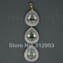 10.50Ct Vintage  Solid 14Kt Rose Gold  Green Amethyst Necklace  Pendant Pear 9x11mm for Women Jewelry ER002