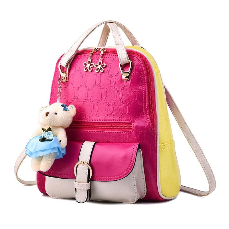Women backpack 2017 Patchwork Back pack Famous Brand Mochila De Couro Feminino Small Bear Backpacks