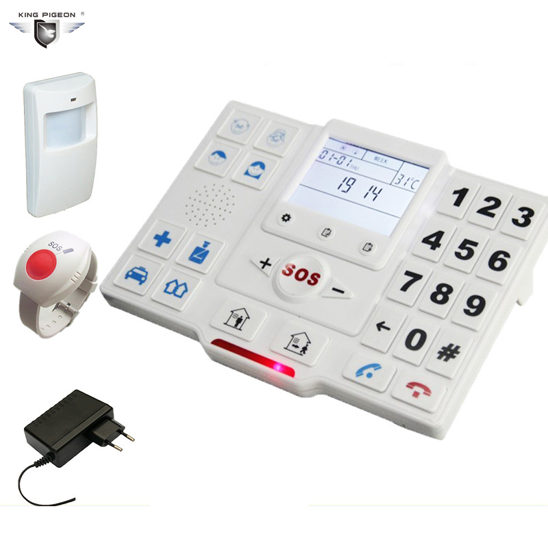 GSM GPRS App Alarm System Elderly Care SOS Dialer Quad-band 850/900/1800/1900 MHz With 1 PIR Sensor King Pigeon T2 PACKAGE SET B quad band gsm one click alarm system with sos key phone