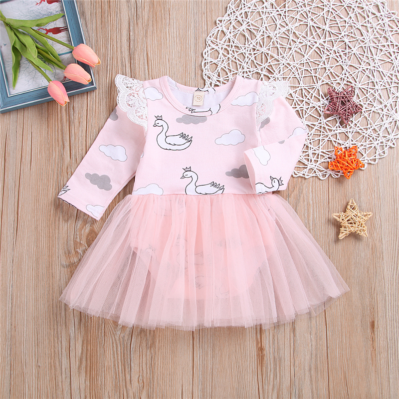 Cute Newborn Baby Girls Swan Print Romper Jumpsuit Tutu Dress Outfits Clothes