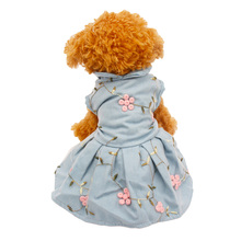 цена на Denim Fabric Blue Dress and T Shirt with Embroidery Flowers Cute Princess Dresses for Pet Dogs Cat Clothes