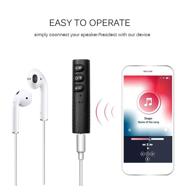 Rovtop Handsfree Bluetooth Car Kit Auto 3.5mm Jack Aux Bluetooth Wireless Music MP3 Audio Adapter Receiver For Headphone