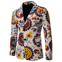 2018 New Mens Fashion Cotton Linen Blazers Men Suits African Print Casual Slim Fit Jacket Male Terno Masculino Hombre