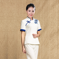 New China Style Beauty Uniform Salon Message Health Club Technician Spa Uniform Nurse Women Short Sleeved Work Wear