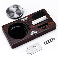 New arrival stainless steel cigar ashtray solid wooden Box with Cigar Punch Cutter Holder portable case set CE-1205