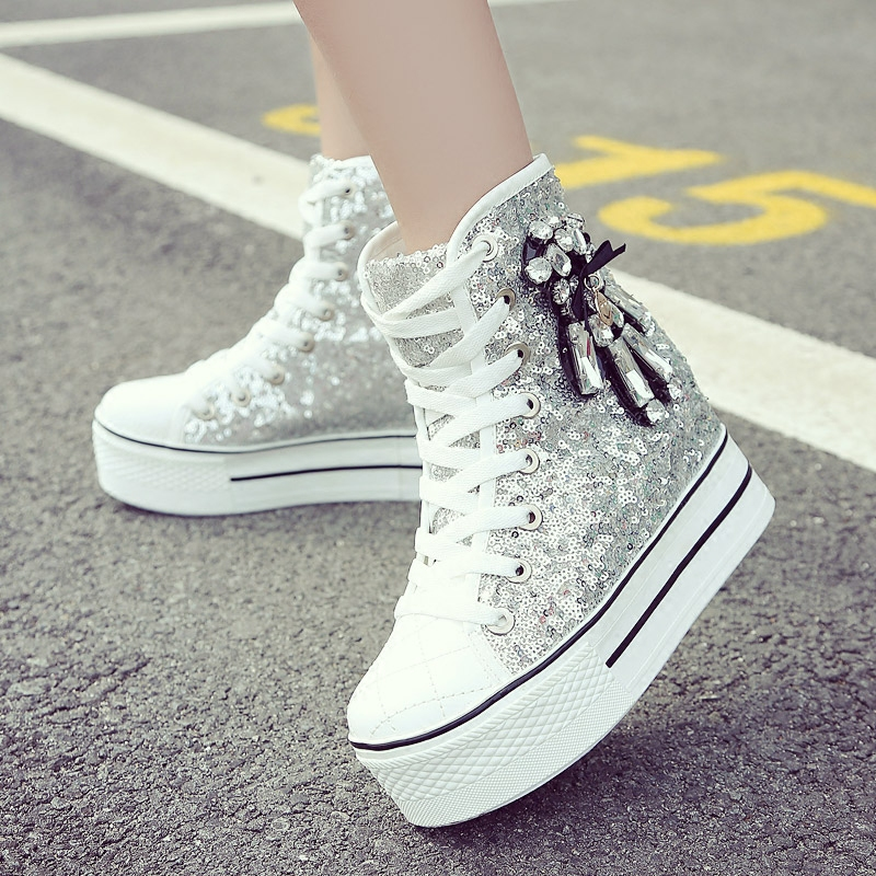 YD-EVER women Casual Shoes platform wedge shoes height increasing super high heel bling diamond crystal sneakers fashion boots 3