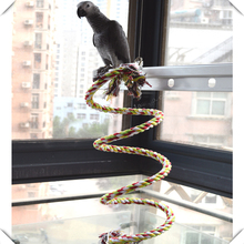 2meters ROPE COIL PERCH SWING WITH BELL -Squirrel Parrot Toys &Parts for medium and large birds