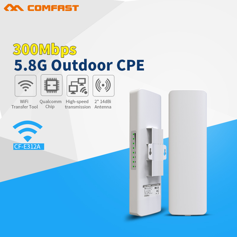 5.8Ghz outdoor Access Point cpe router with 2*14dBi WIFI Antenna high power wireless bridge COMFAST CF-E312A 300Mbps Nanostation martin audio asf20035