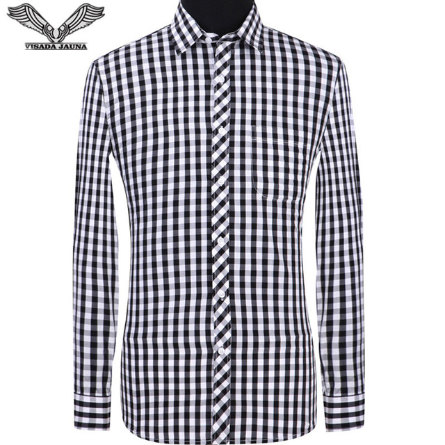 Visada jauna 2018 Для мужчин рубашки с длинным рукавом Летние Рубашки в клетку Повседневное Бизнес Для мужчин рубашка Slim Fit Хлопок Большой Размеры рубашка Для мужчин n8885