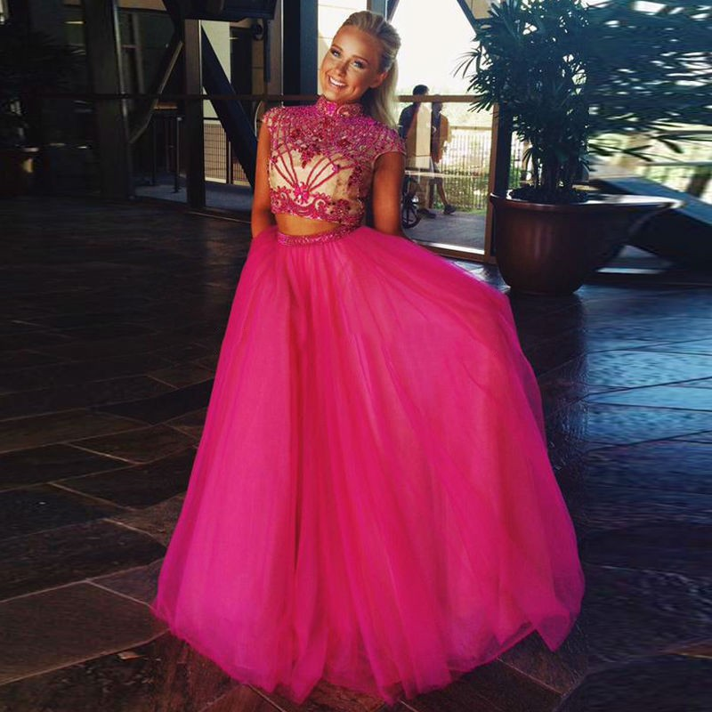5a3929f040f02 New Fashion Two Pieces Prom Dress 2016 Heavy Beaded Chiffon Nevy Pink  Formal Evening Gown High Neck Prom Dress For Girl