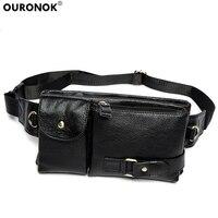 OURONOK Genuine Leather Men's Purse Real Leather Retro Men Waist Packs Bag Cell Phone Pocket Waist Belt with Adjustable Strap