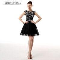 Elnorbridal черные коктейльные платья 2018 Jurken Ever Pretty Vestidos De Coctel Elegantes Короткие вечерние платья Свадебные платья